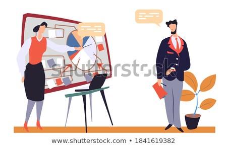 Kişi takım elbise sunmak proje tahta karikatür Stok fotoğraf © robuart