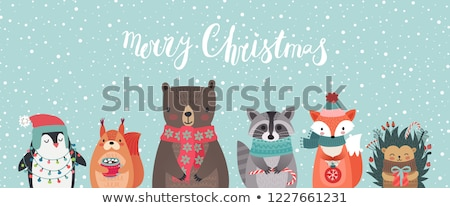Merry Christmas Set of Cards with Santa and Bunny Stock photo © robuart