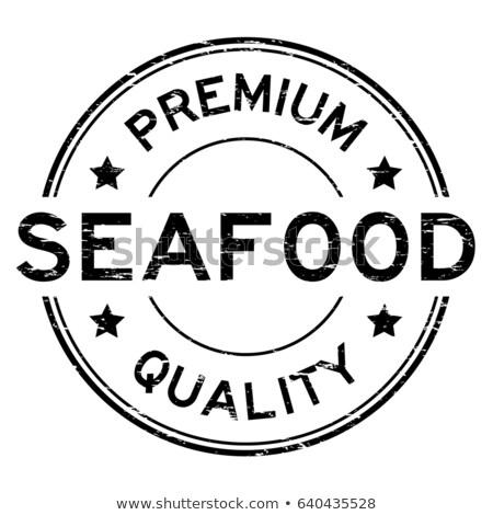 Prämie Qualität frischen Fisch Werbung schwarz Stock foto © robuart