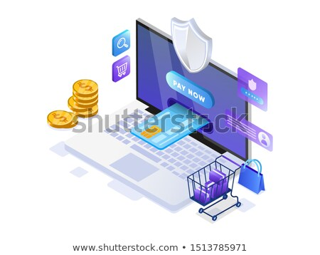 flat isometric vector landing page template of online bill payment shopping stock photo © tarikvision