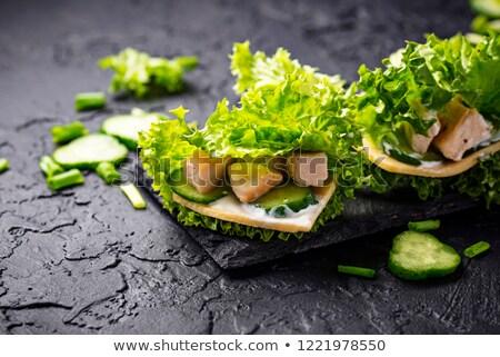 低い · レタス · ファストフード · 背景 · 鶏 · チーズ - ストックフォト © furmanphoto