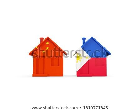Stock fotó: Kettő · házak · zászlók · Kína · Fülöp-szigetek · izolált