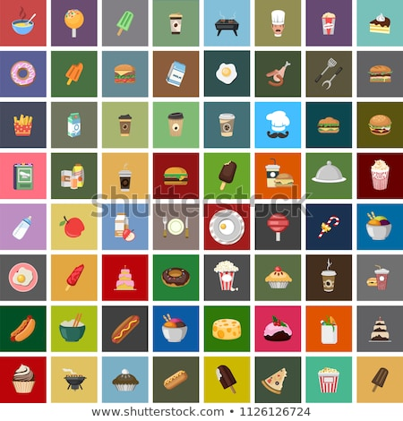 Fast food and cake vector illustrations set. Stock photo © RAStudio
