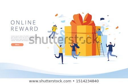 Digitális ajándékkártya izometrikus 3D leszállás oldal Stock fotó © RAStudio