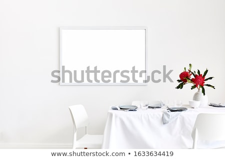 Empty Room with Restaurant Table Cloth Style Red Wall Stock photo © make