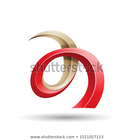 Red and Beige Curled Ivy Like Letter A Icon Stock photo © cidepix