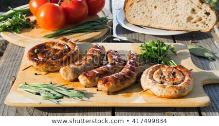 Zdjęcia stock: Grillowany · kiełbasy · warzyw · selektywne · focus · żywności