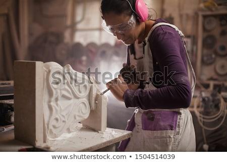 石 彫刻家 手 作業 芸術 岩 ストックフォト © guffoto