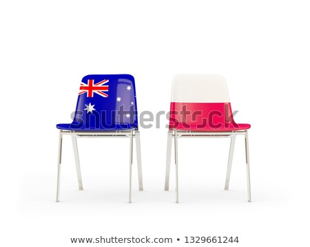 Dois cadeiras bandeiras Austrália Polônia isolado Foto stock © MikhailMishchenko