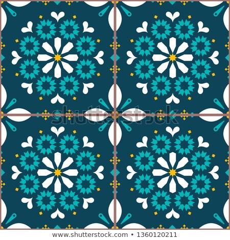 Azulejo vector tiles seamless pattern inspired by Portuguese art, Lisbon style tile background Stock photo © RedKoala