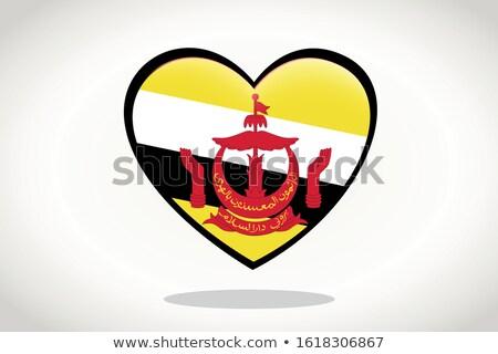 Brunei bayrak kalp şekli etiket örnek arka plan Stok fotoğraf © colematt