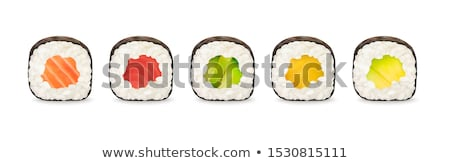 vector · establecer · sushi · arroz · crudo · peces - foto stock © olllikeballoon