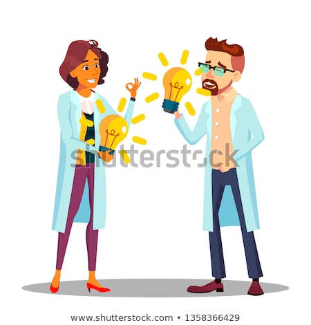 Inventor Man, Woman Vector. Scientist Or Business Person Inventor. Success Concept. Illustration Stock photo © pikepicture