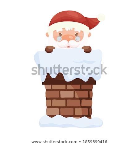 Alegre natal papai noel veja fora chaminé Foto stock © robuart