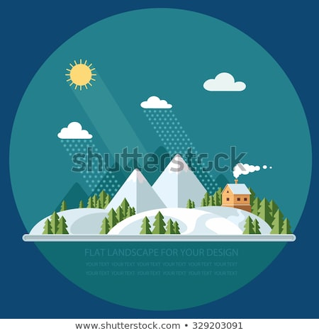 christmas in mountains town and snow hill vector stock photo © robuart