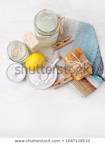 Vinegar, lemon, natural soap. Organic cleaner. Eco friendly. Zero waste lifestyle. Save planet. Care Stock photo © user_10144511