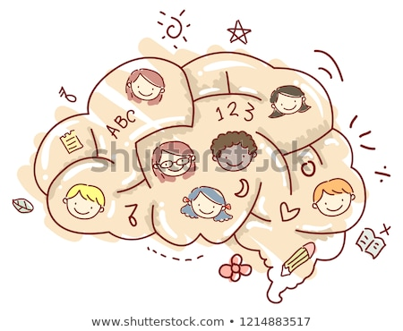 Stickman Kids Brain Maze Faces Illustration Stock photo © lenm