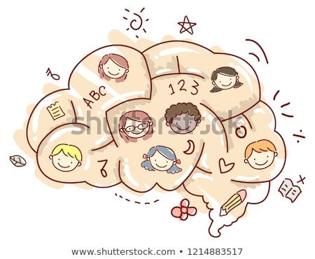 Kinderen hersenen doolhof gezichten illustratie ander Stockfoto © lenm