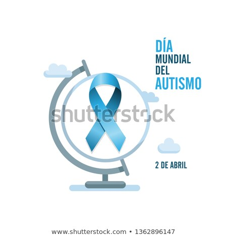 Blue autism ribbon and globe. International autism awareness day ストックフォト © Imaagio