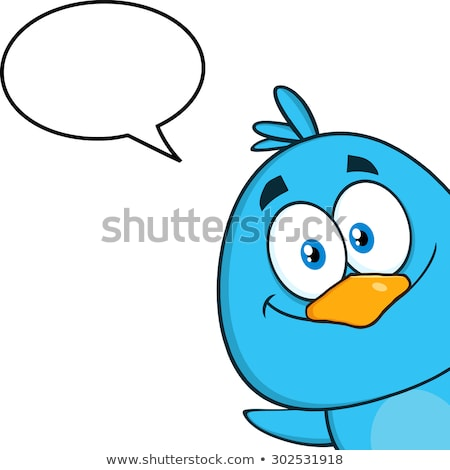 Smiling Blue Bird Cartoon Character Looking From A Corner With Speech Bubble Stock photo © hittoon