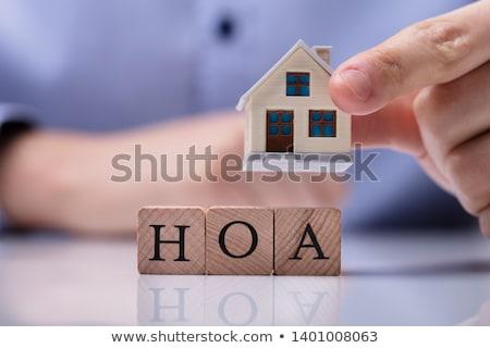 háztulajdonos · fából · készült · ház · modellek · fakockák · miniatűr - stock fotó © andreypopov