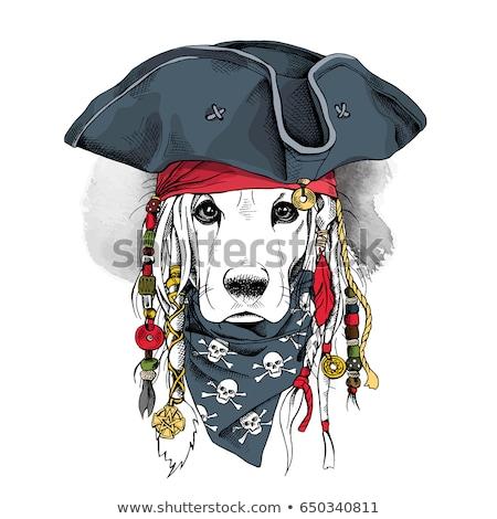 rajz · szín · koponya · kézzel · rajzolt · szakáll · cigaretta - stock fotó © netkov1
