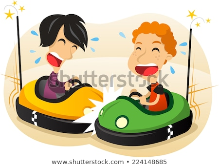Characters Children Driving Bumper Car Vector Stock photo © pikepicture