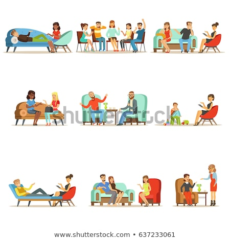 Anxiety Group Of Characters Man And Woman Vector Stock photo © pikepicture