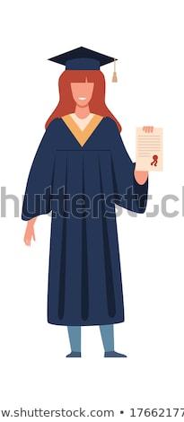 Meisje afstuderen toga illustratie gelukkig Stockfoto © bluering