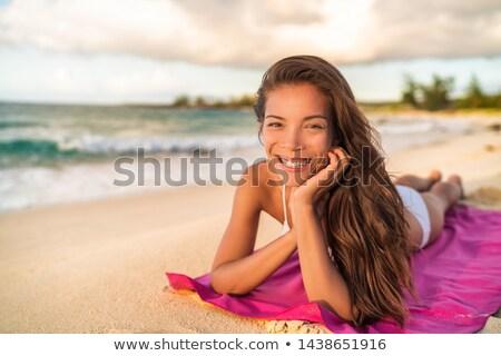 счастливым азиатских Бикини модель расслабляющая Летние каникулы Сток-фото © Maridav