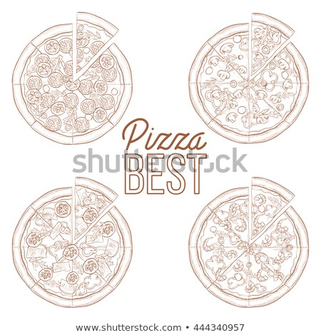 Scetch set of four types pizza Stock photo © netkov1