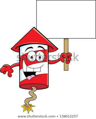 Cartoon Firecracker Holding a Sign Stock photo © bennerdesign