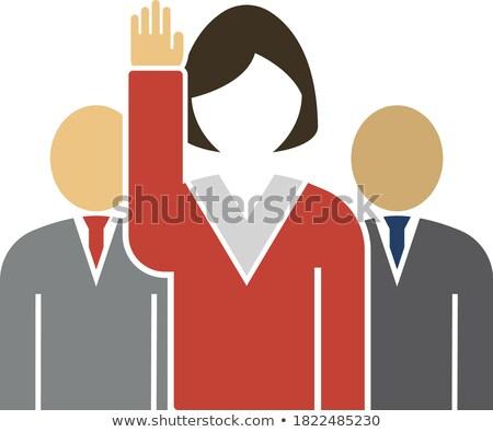 Szavazás hölgy férfiak mögött ikon fényes Stock fotó © angelp