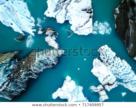 Ice and Icebergs from glacier - amazing arctic nature landscape aerial image Stock photo © Maridav