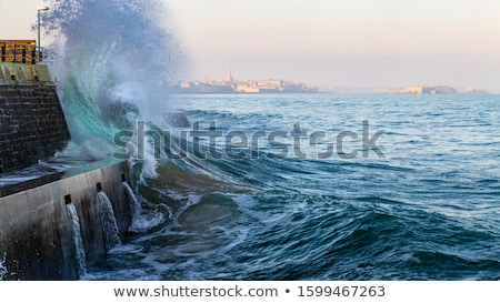 Big wave crushing during high tide in Saint-Malo Stock photo © tilo