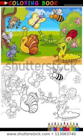 tırtıl · böcek · karikatür · örnek · komik - stok fotoğraf © izakowski