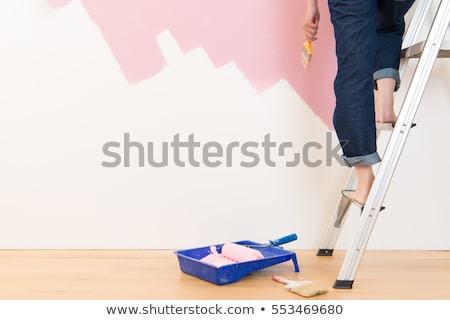 jonge · glimlachend · werknemer · verf · kamer · vrouwelijke - stockfoto © elnur