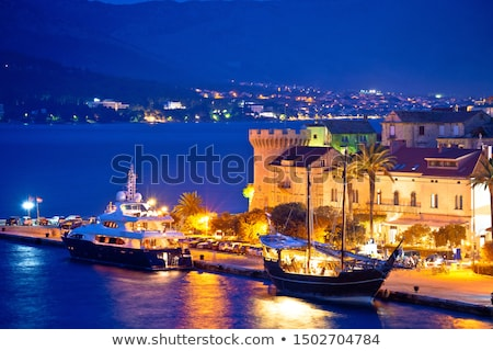 Town of Korcula yachting harbor evening view Stock photo © xbrchx
