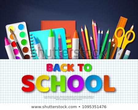 Material escolar caderno lápis governante caneta escolas Foto stock © robuart