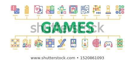 Interaktywny dzieci gry minimalny banner Zdjęcia stock © pikepicture