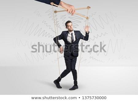 Fantoche empresário rabisco linhas em torno de marionete Foto stock © ra2studio