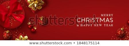 ストックフォト: Merry Christmas Red Card 3d Gold Xmas Decoration