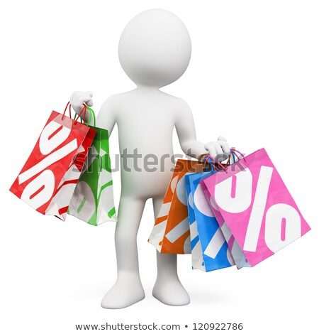 3d white people man into a sale paper bag with percent symbol stock photo © texelart