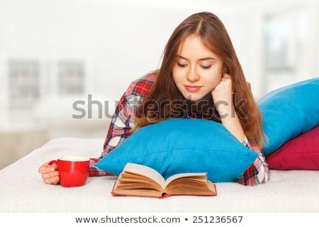 Tinilány olvas könyv szoba szókincs tanul Stock fotó © lightpoet