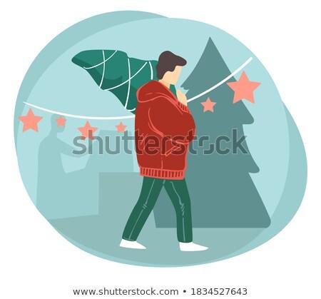 Człowiek kupiony sosna christmas wakacje wektora Zdjęcia stock © robuart
