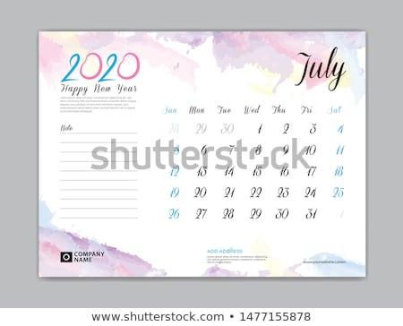 2020 new year watercolor calendar layout template design Stock photo © SArts