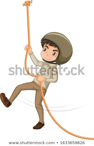 Boy in safari outfit climbing rope on white background Stock photo © bluering