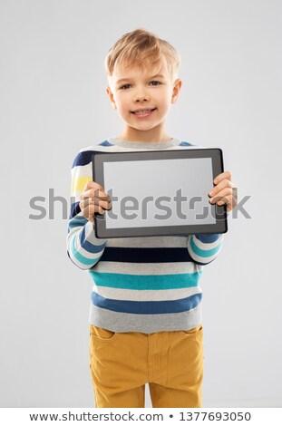 мальчика полосатый свитер компьютер детство Сток-фото © dolgachov