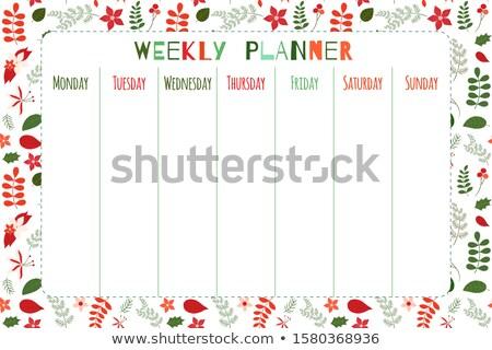 Elegant Floral Vector Weekly Planner Template In Red And Green Stockfoto © Pravokrugulnik