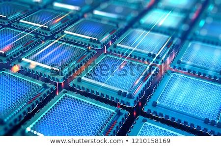 コンピューティング プロセッサ のCPU  未来的な 緑 3次元の図 ストックフォト © solarseven